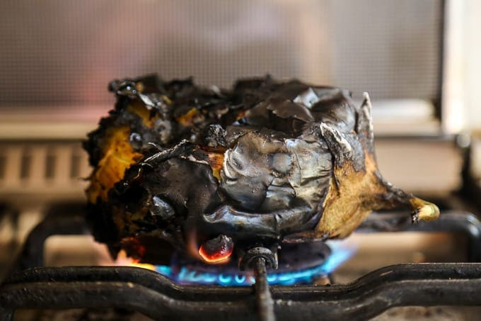 HOW TO ROAST AUBERGINES/EGGPLANTS ON THE STOVE