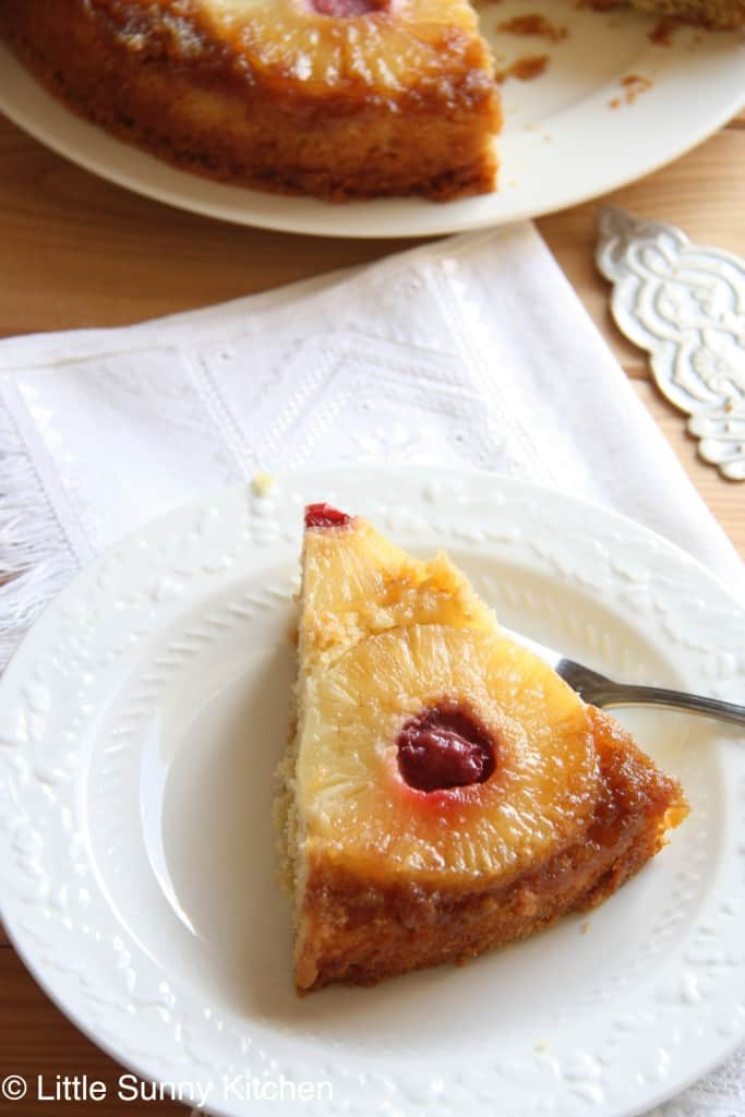 A slice of pineapple upside down cake