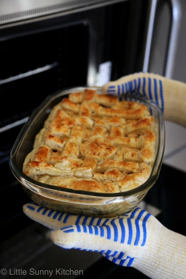 Easy Chicken pot pie with carrot corn and mushrooms