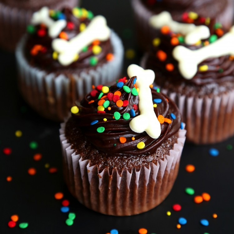 Halloween chocolate cupcakes with bones