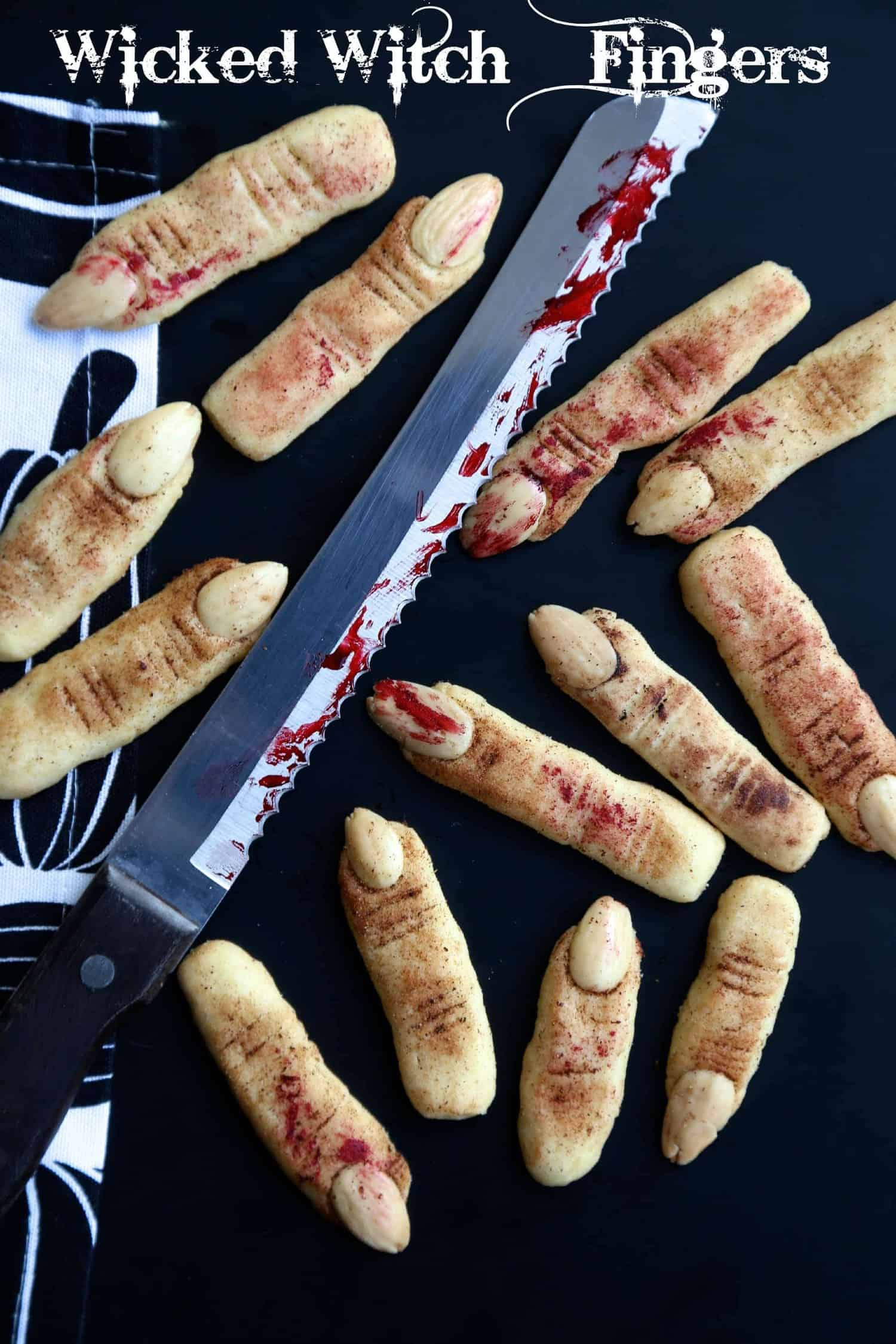 halloween wicked witch finger cookies - little sunny kitchen