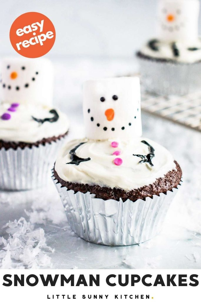 Snowman cupcakes pinnable image