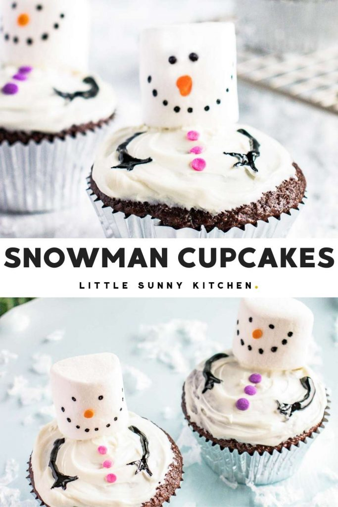 Snowman cupcakes pinnable image with text overlay and 2 images
