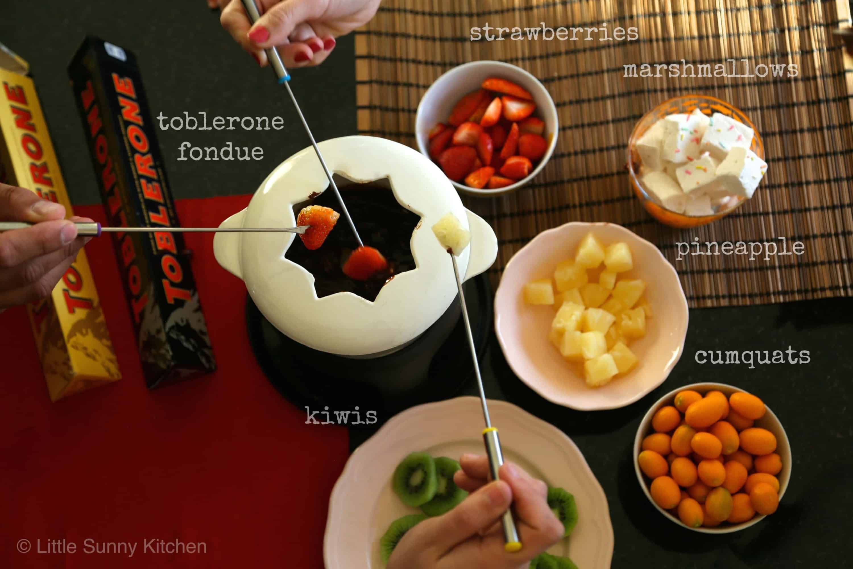 Chocolate fondue using toblerone