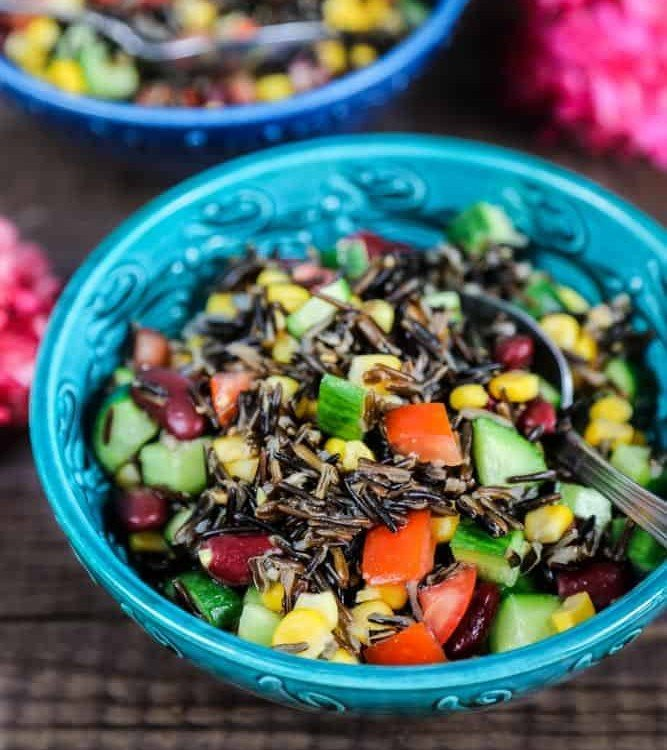 A refreshing and healthy black rice salad.