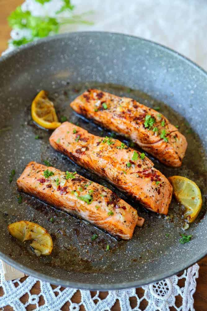 Easy pan fried honey garlic salmon
