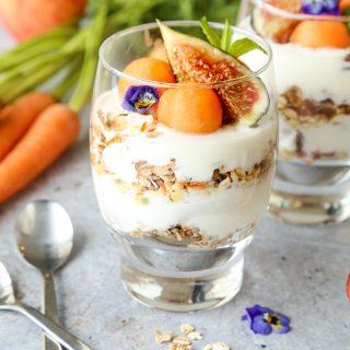 Vegan muesli yoghurt parfait fresh fruit edible flowers Dorset cereals