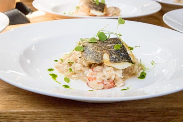 A super creamy one pot seafood risotto made with parmesan cheese, topped with delicious crispy sea bream...