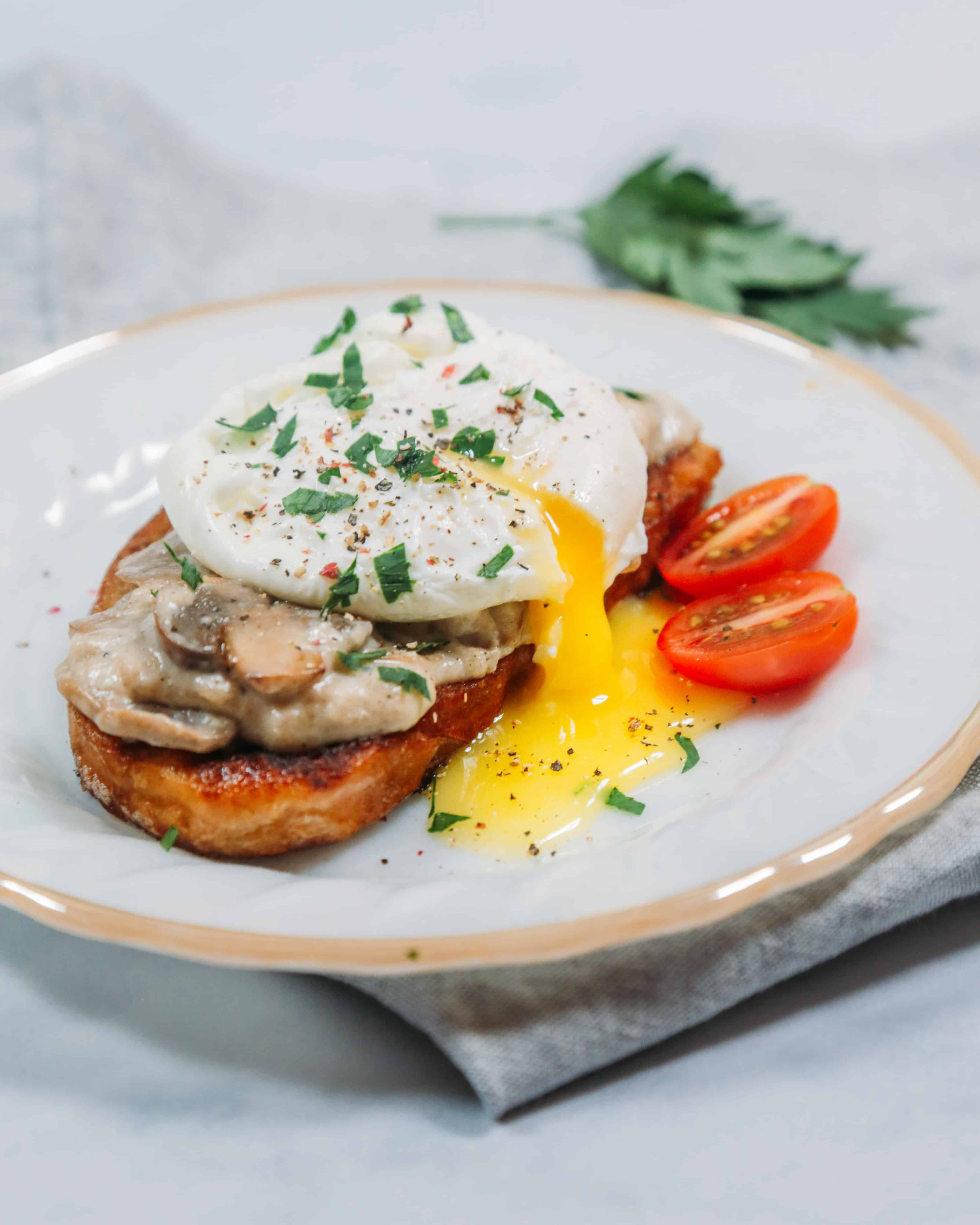 Savoury Russian Grenki recipe made savory with mushrooms and poached egg