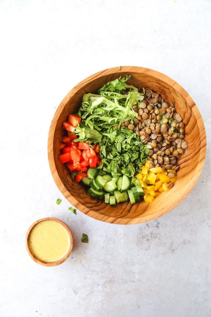 mint lentil salad with vegan honey mustard-2