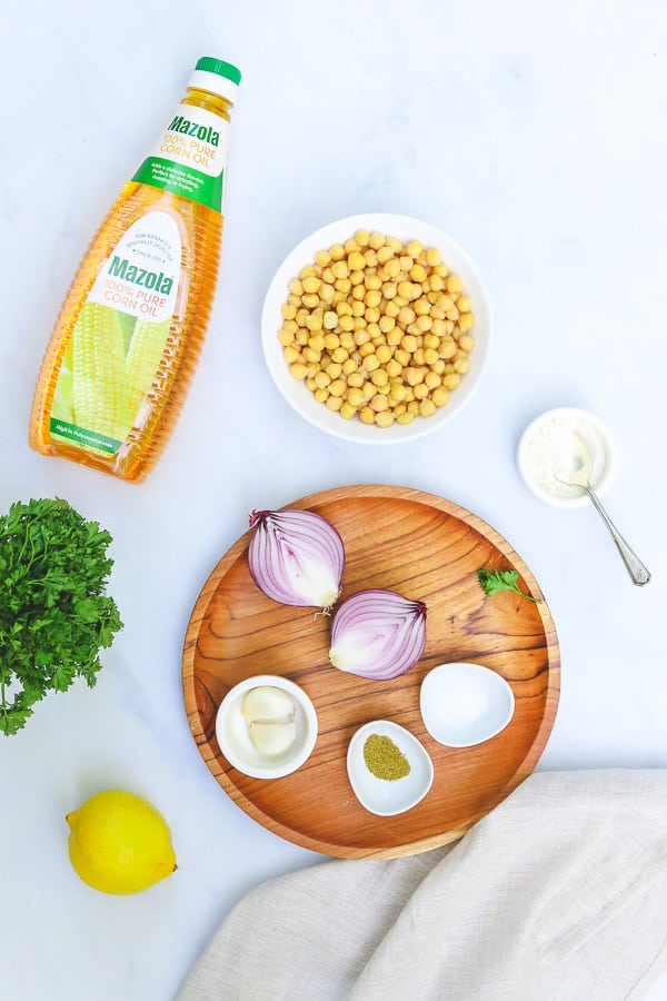 Falafel burger ingredients with mazola corn oil