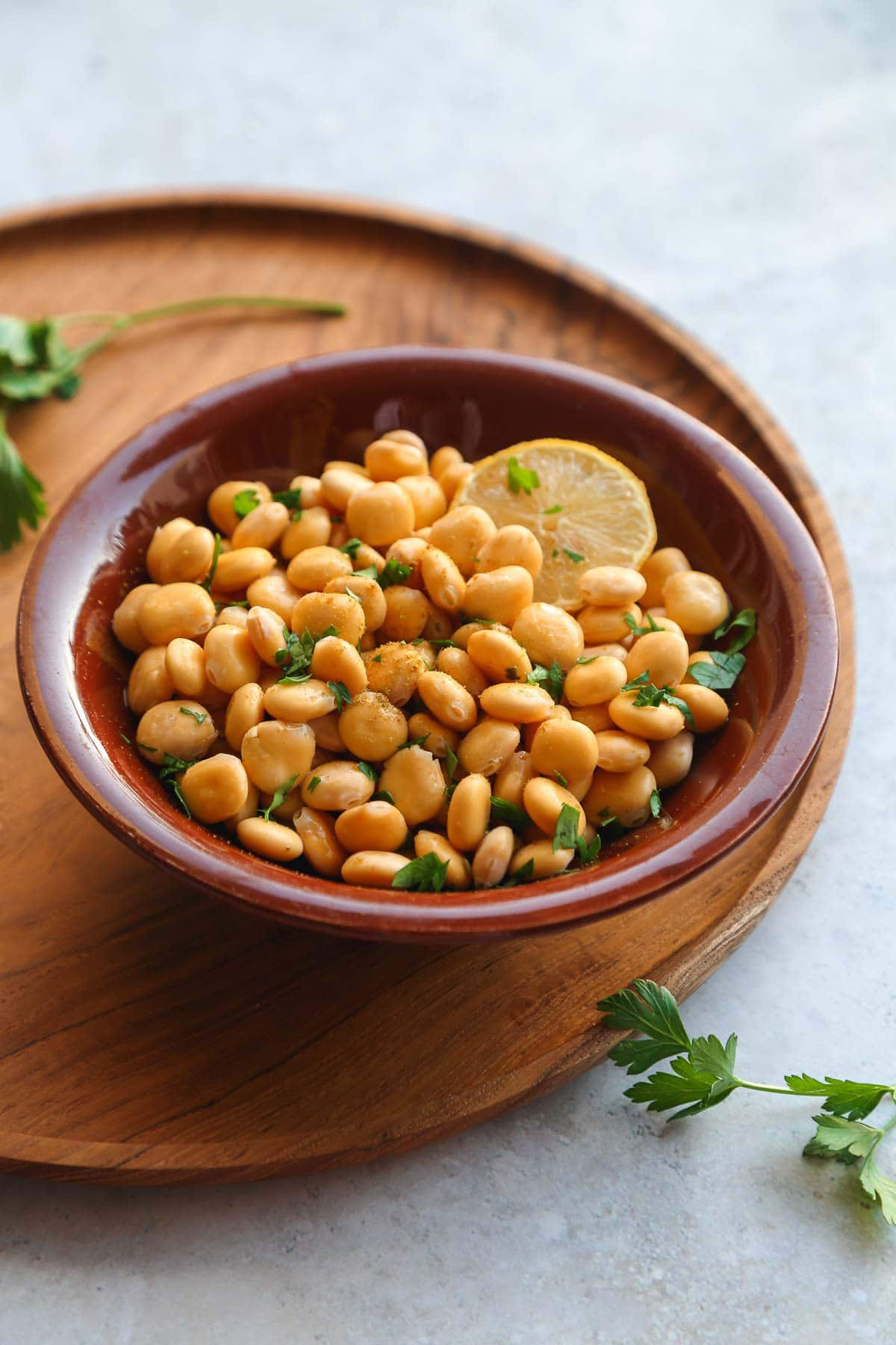 A bowl of lupini beans following a middle eastern recipe