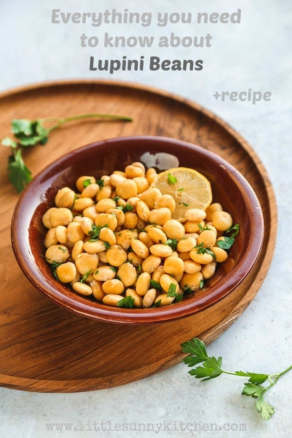 Everything you need to know about Lupini beans, and a lupini bean Middle Eastern recipe.