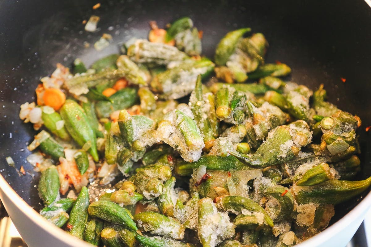 Cooking with frozen okra