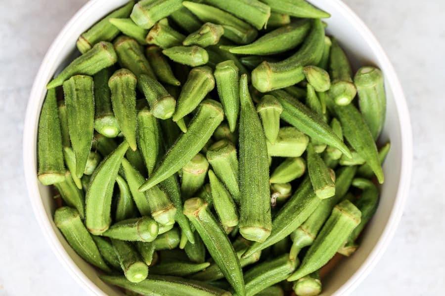 fresh okra pods - bamya