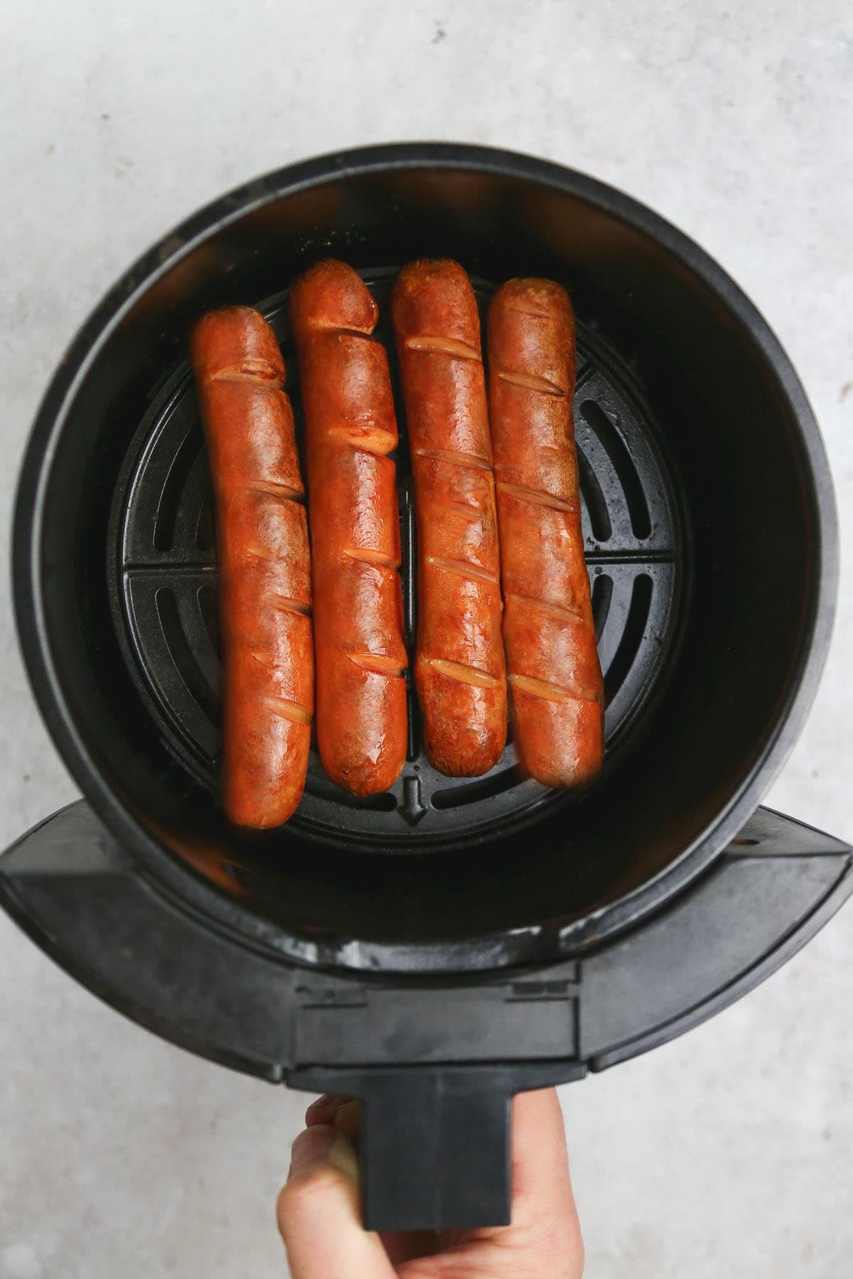 Cooked air fryer hot dogs