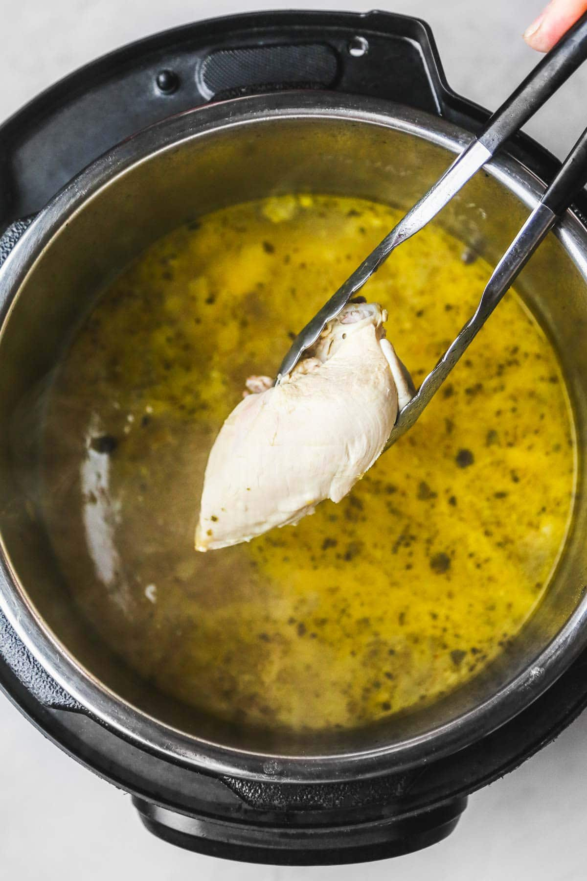 Taking the chicken out of the Instant Pot