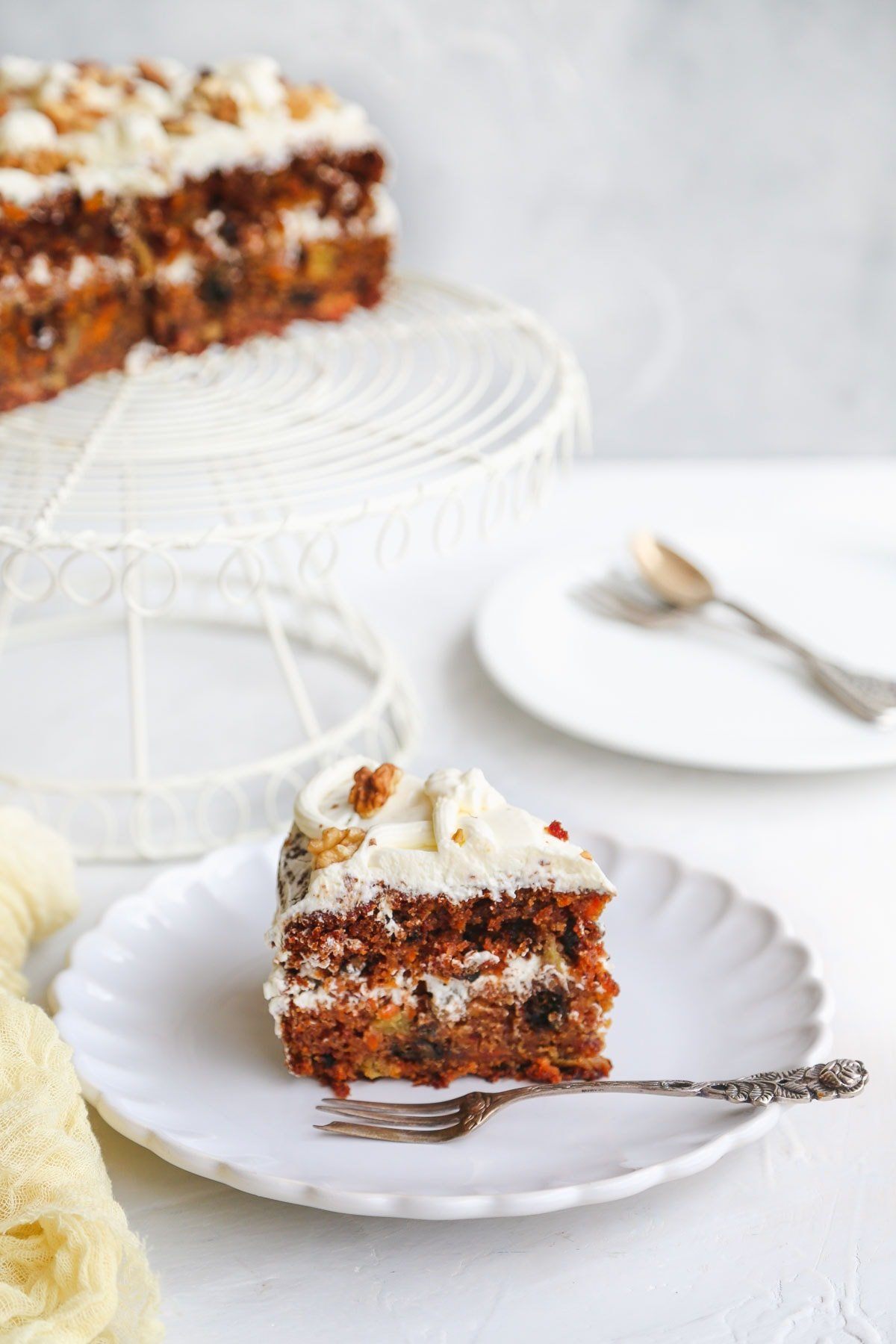 A slice of vegan carrot cake