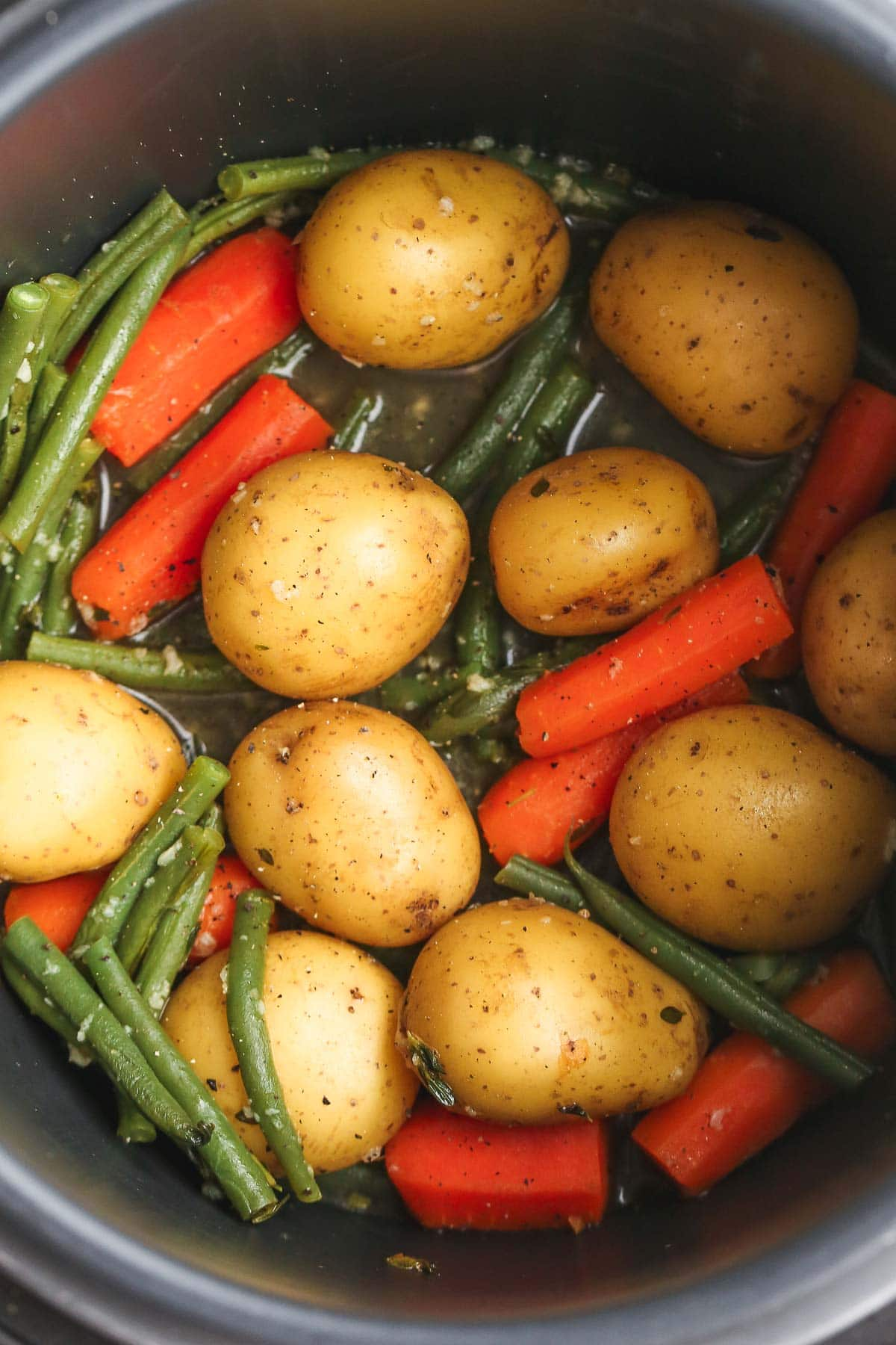 Instant Pot potatoes with carrot and green beans in the Instant Pot