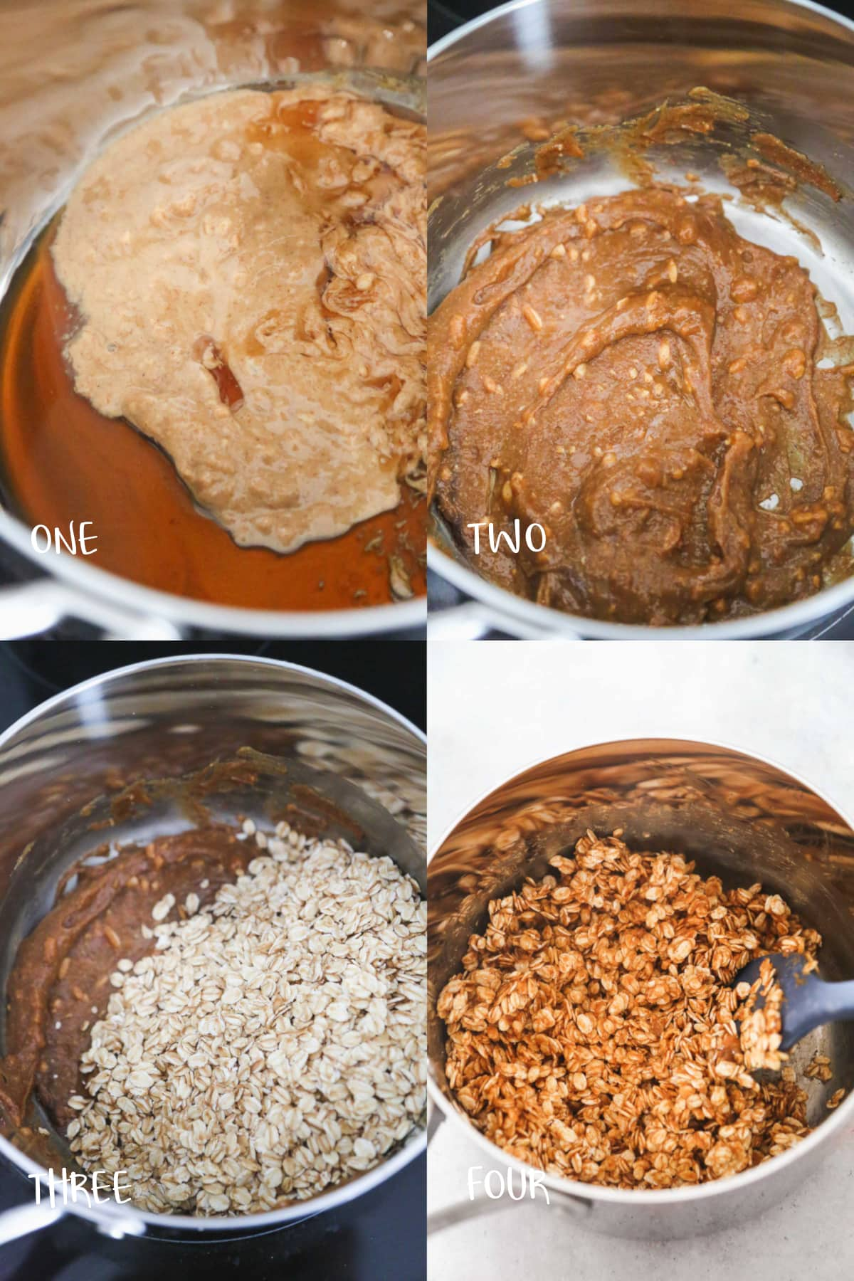 Step by step peanut butter granola