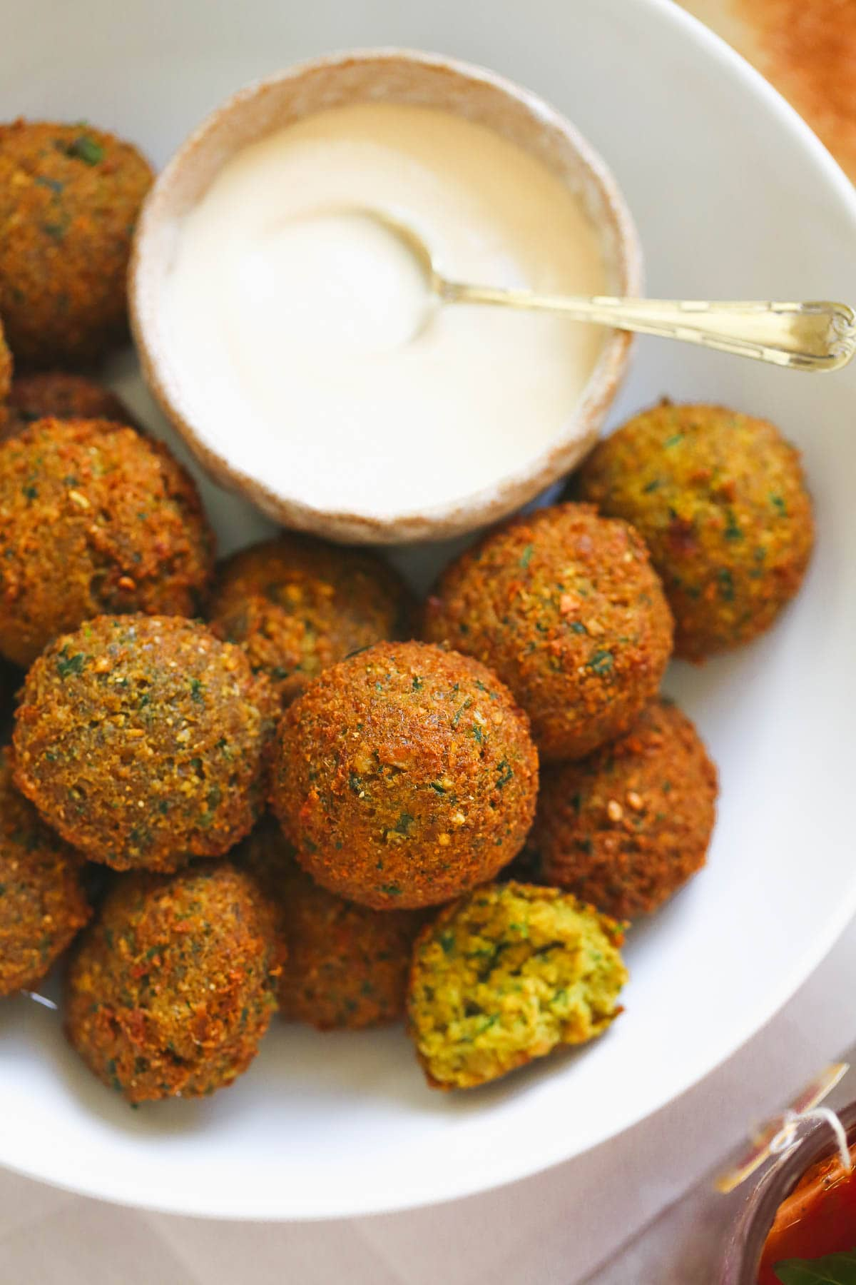 A close up to show texture of the falafel balls