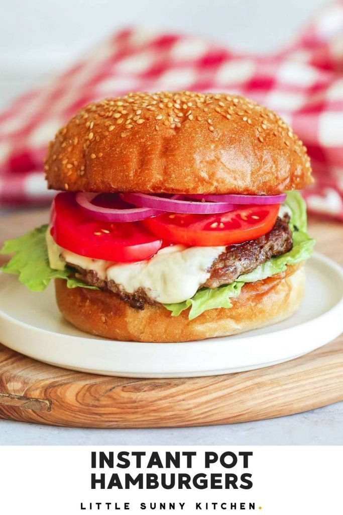 Instant Pot Hamburgers pinnable image