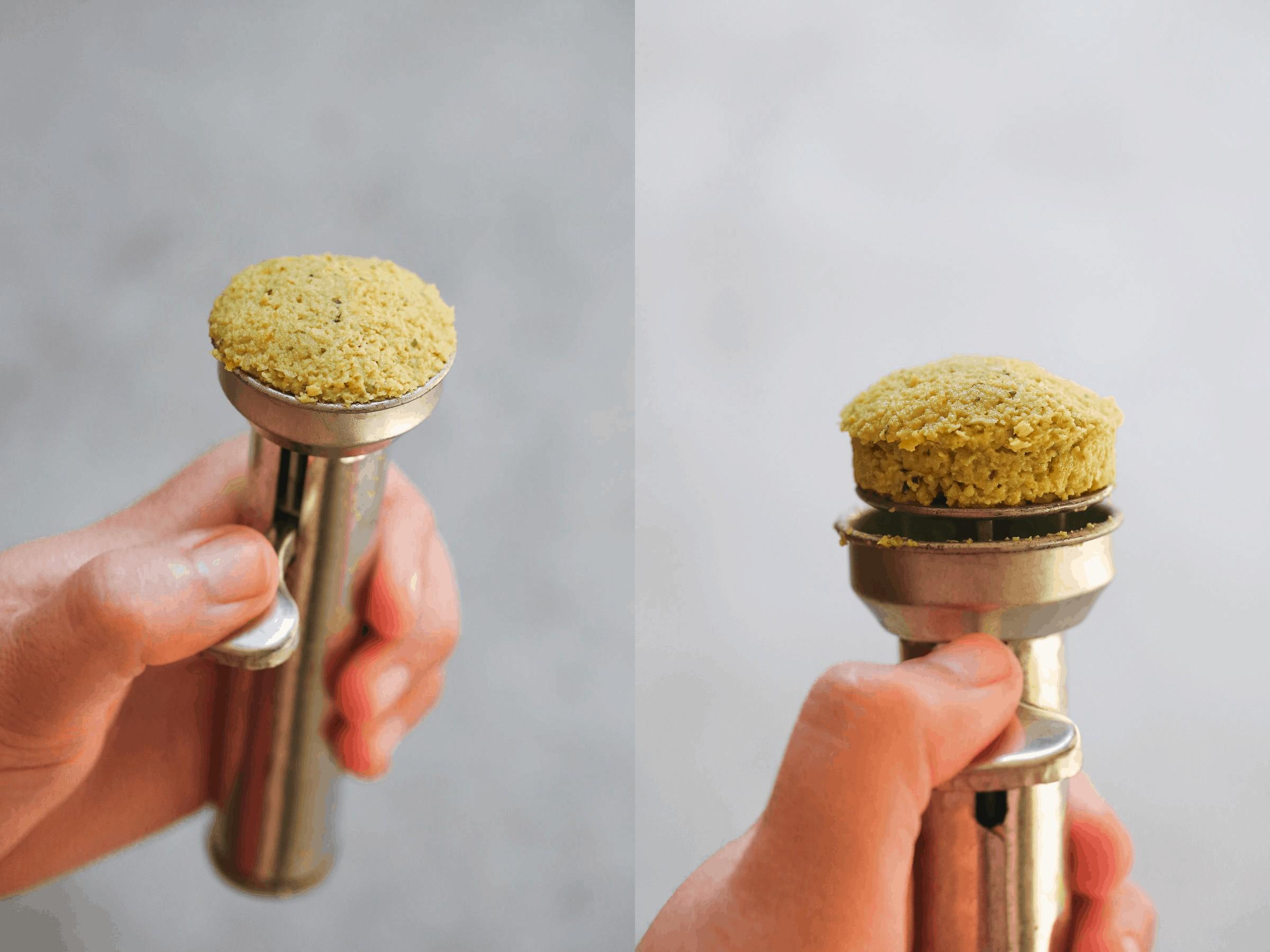 A traditional falafel scoop with falafel mixture