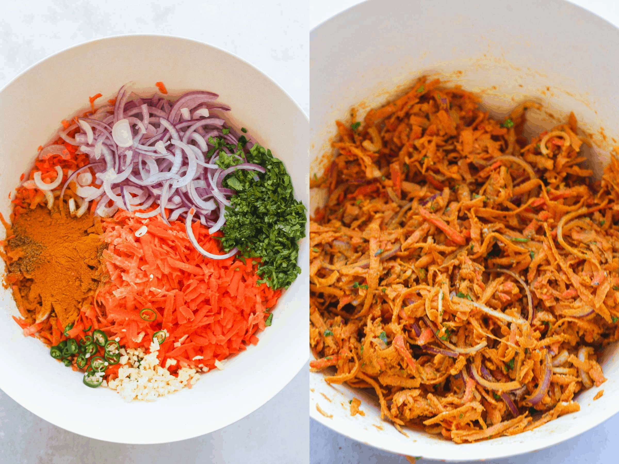 Mixing the vegetables and spices in a bowl to make the mixture for bhaji burgers