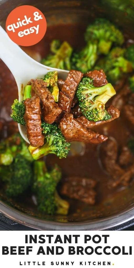 Instant Pot Beef and Broccoli pinnable image