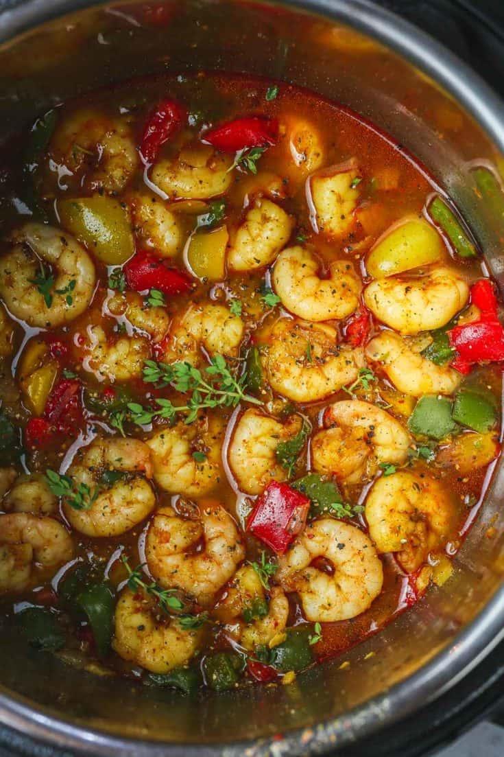 Instant Pot Spicy Cajun Pepper Shrimp