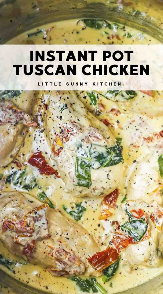 Instant Pot Tuscan chicken pinnable image