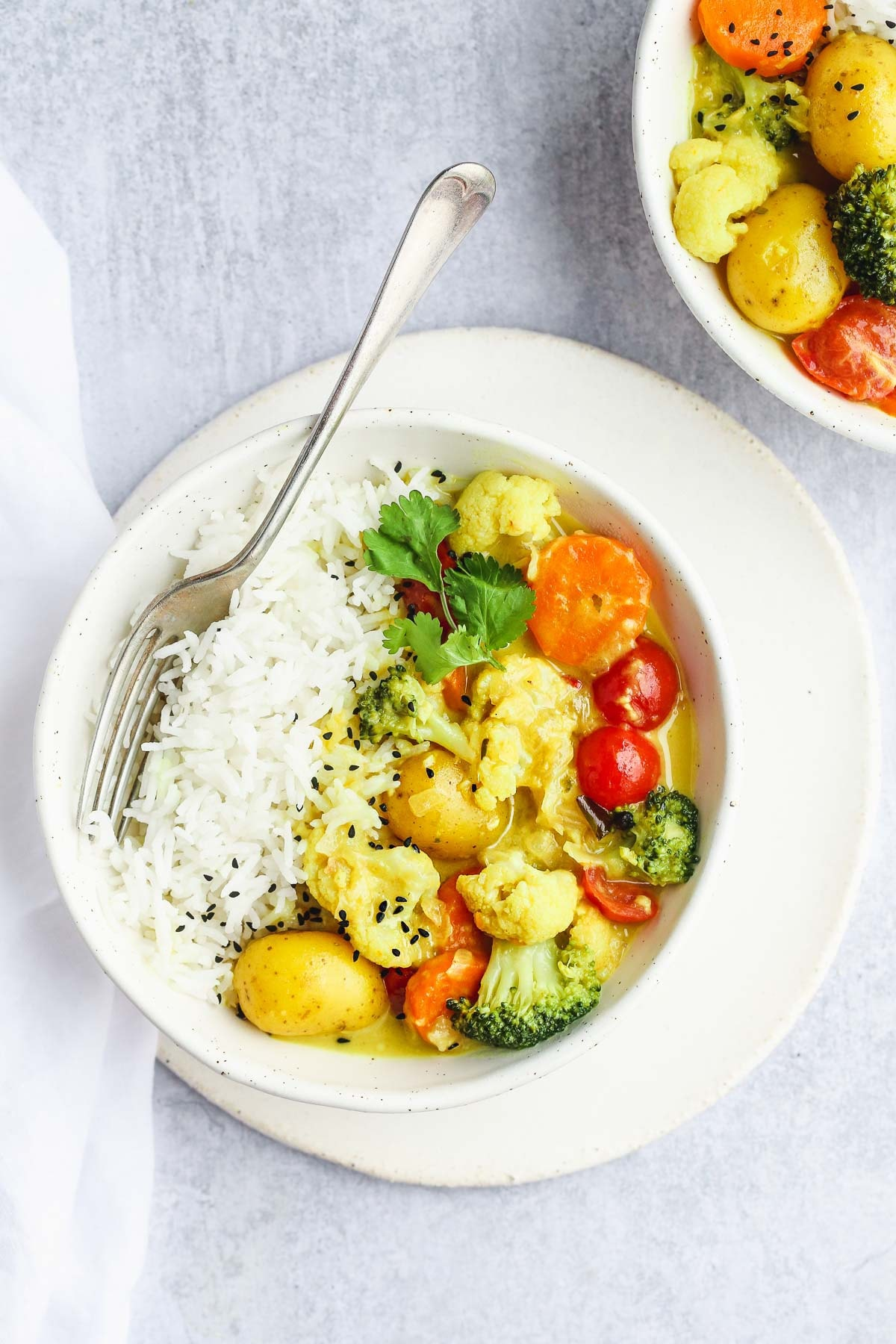 Vegan Coconut Curry in a white bowl served with rice