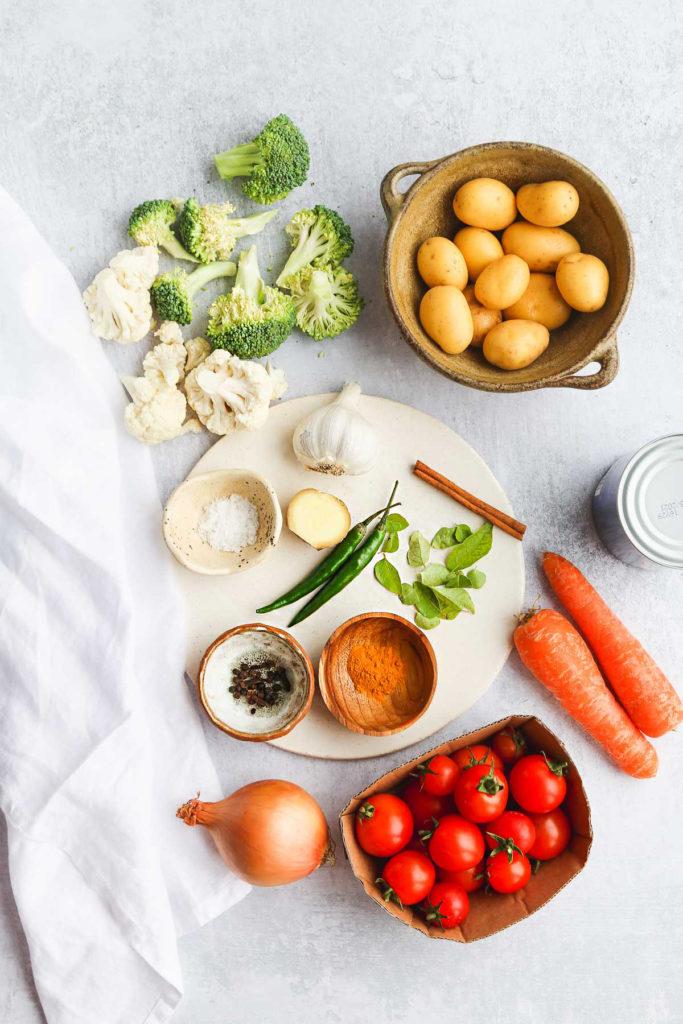 Vegan Coconut Curry ingredients