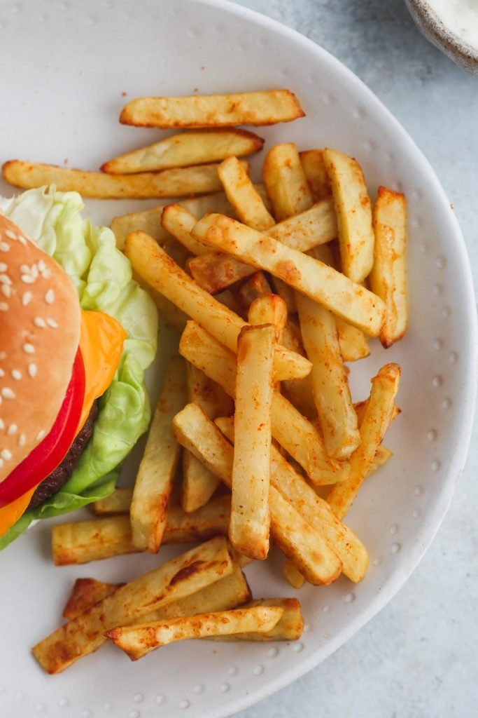French fries made in the air fryer served with the air fryer hamburger
