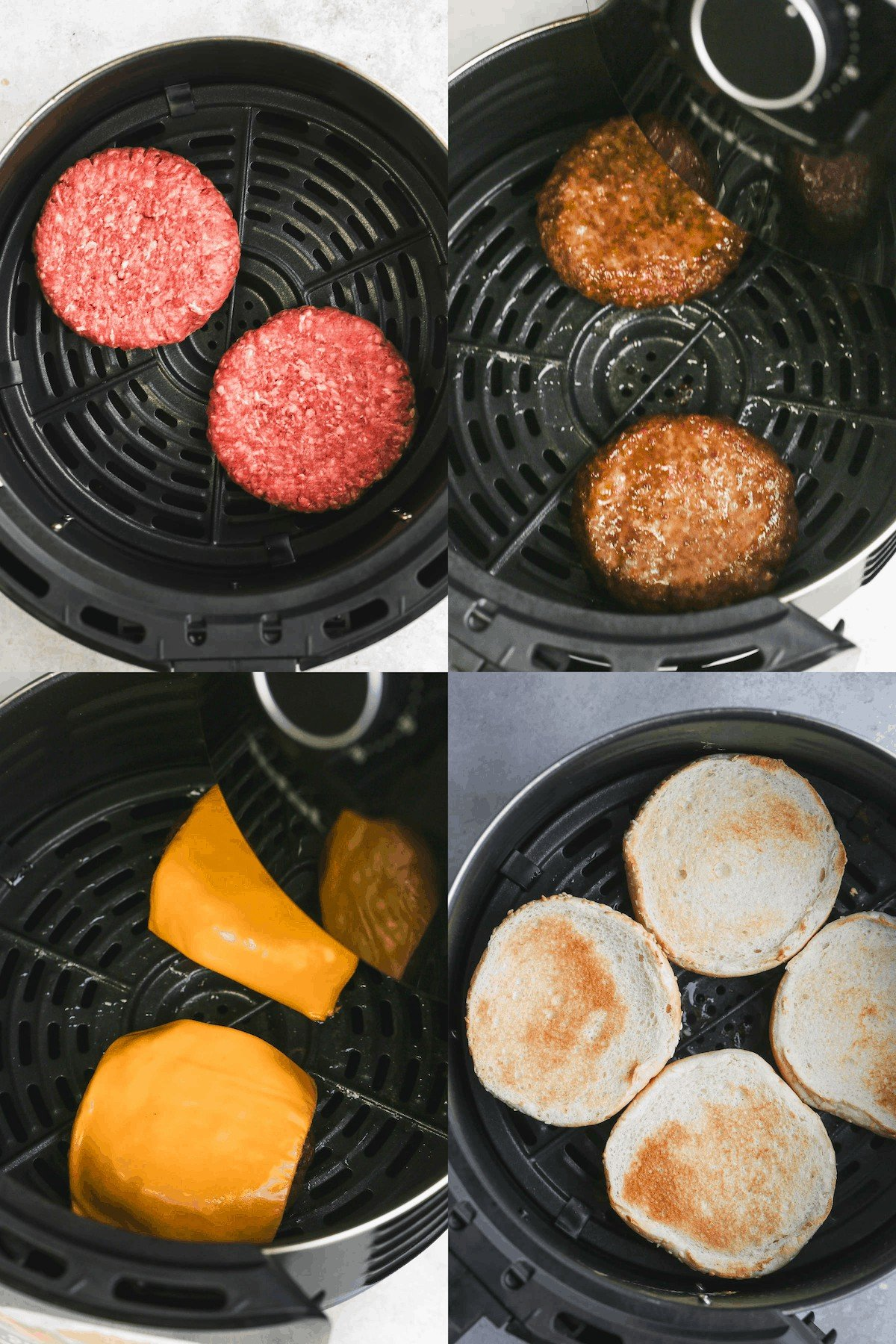 Steps of making hamburgers in an air fryer; including air frying the meat patties, melting the cheese, and toasting the buns.