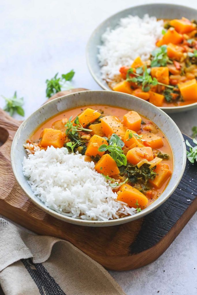 Butternut Squash Curry with kale