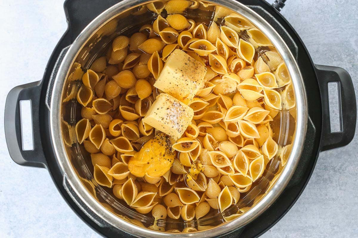 Pasta, vegetable broth, butter, mustard, salt and pepper in the Instant Pot