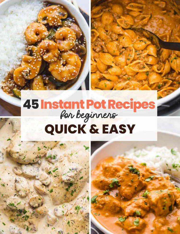 """A collage with 4 images of recipes made in the Instant Pot, and overlay text """"45 Instant Pot Recipes for Beginners, quick & easy"""""""