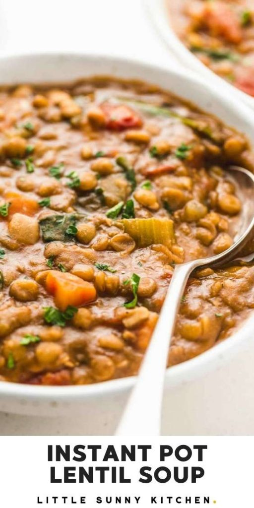 "Instant Pot Lentil Soup pinnable image with overlay text ""Instant Pot lentil soup"""