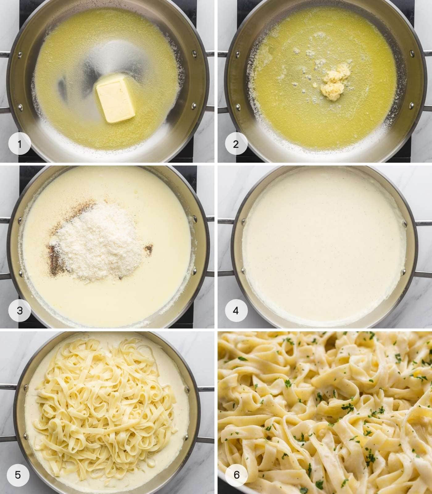 Steps how to make alfredo sauce