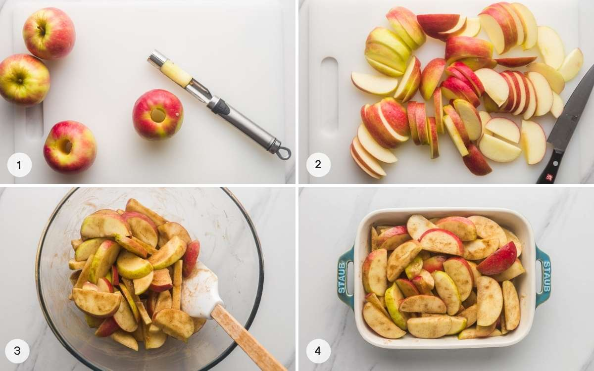 How to make baked apple slices, a collage with 4 images