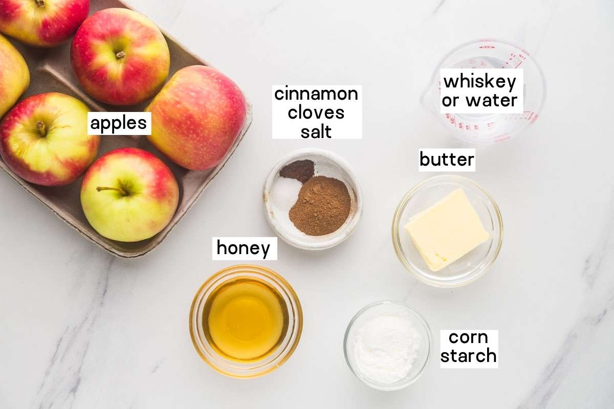 Ingredients needed to make baked apple slices