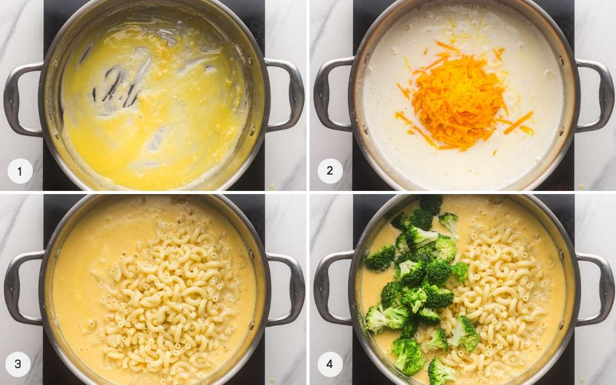 How to make Broccoli Mac and Cheese - 4 images in a collage