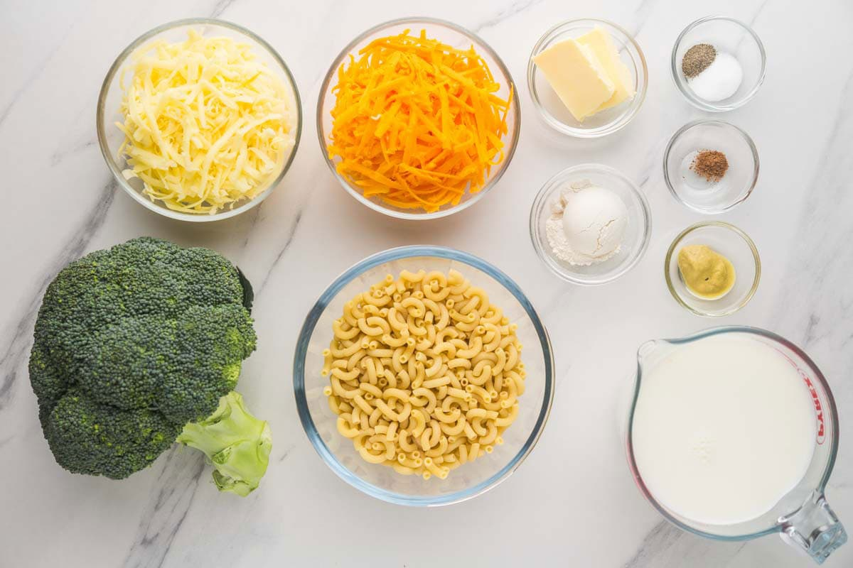 Broccoli Mac and Cheese ingredients
