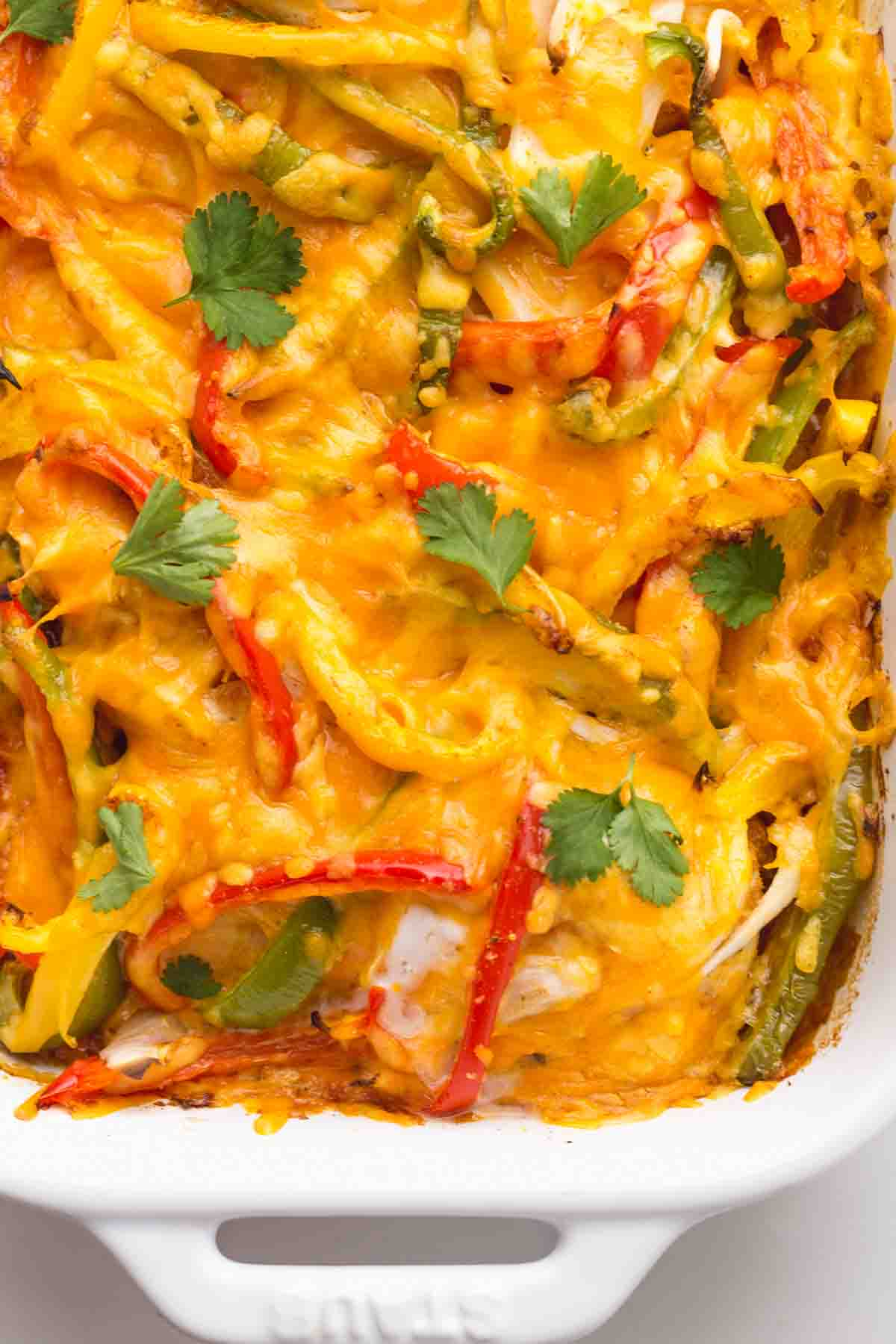 A close up of the fajita chicken casserole
