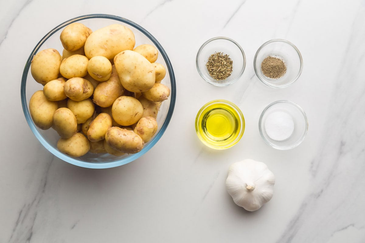 Ingredients needed to make Crushed New Potatoes