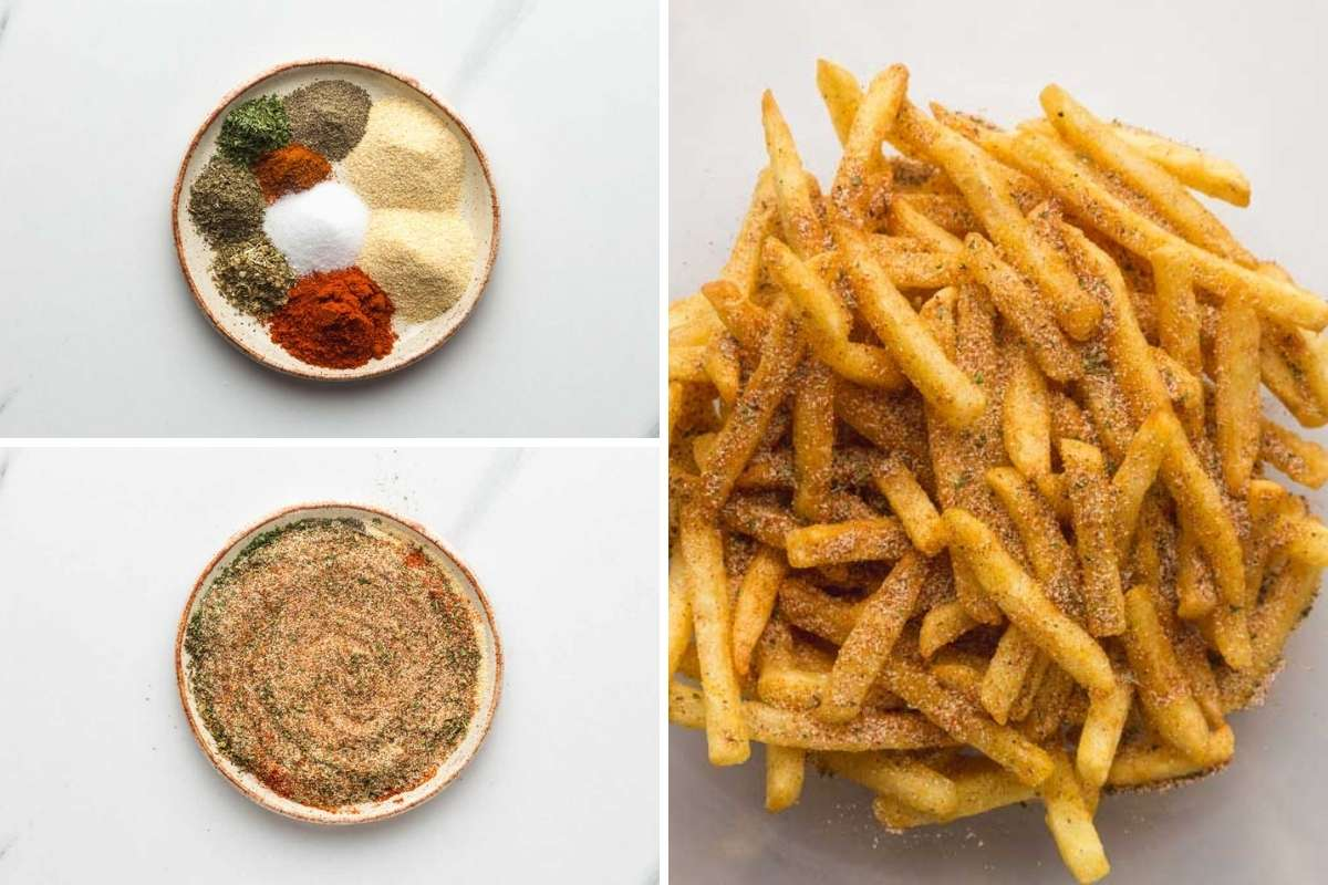 How to Season French Fries - a collage with 3 process images