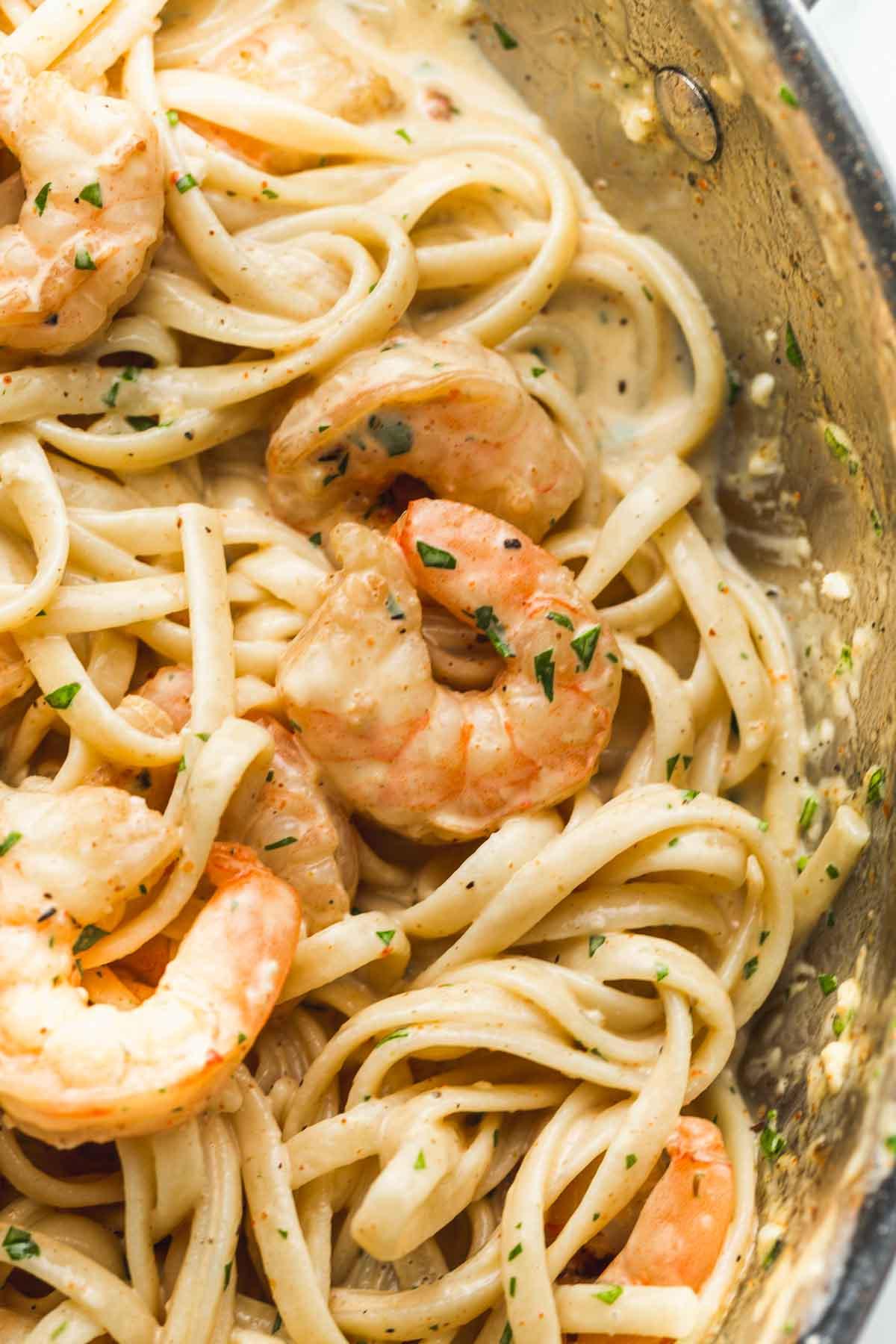 Close up of shrimps and creamy linguine pasta