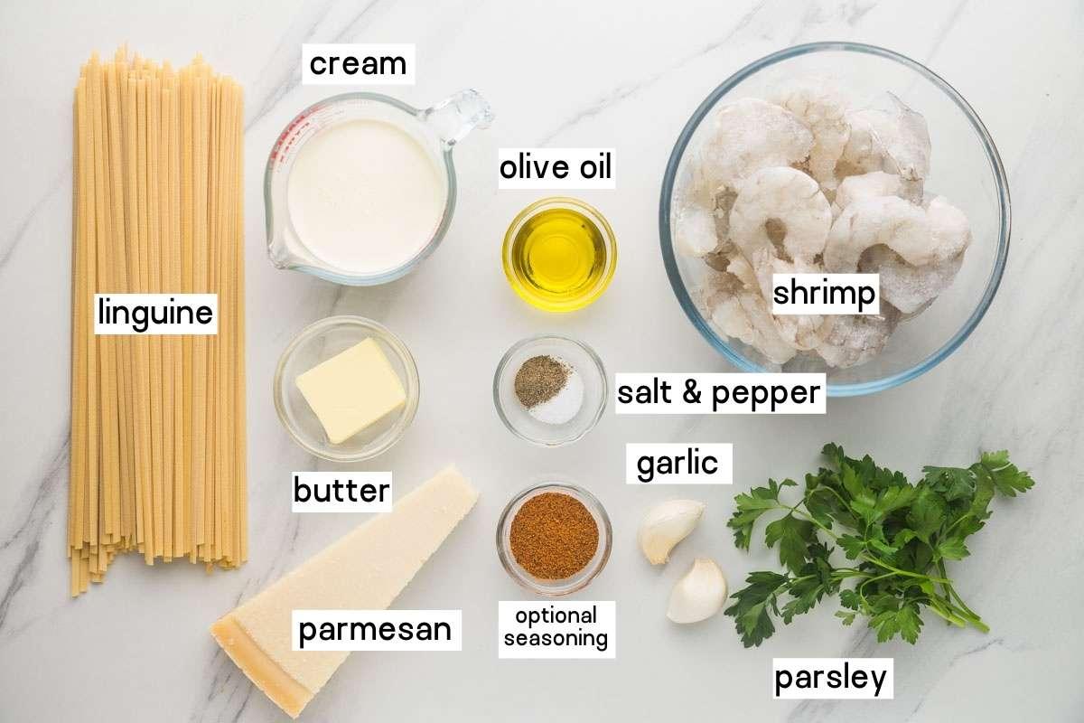 Garlic Butter Shrimp Pasta ingredients