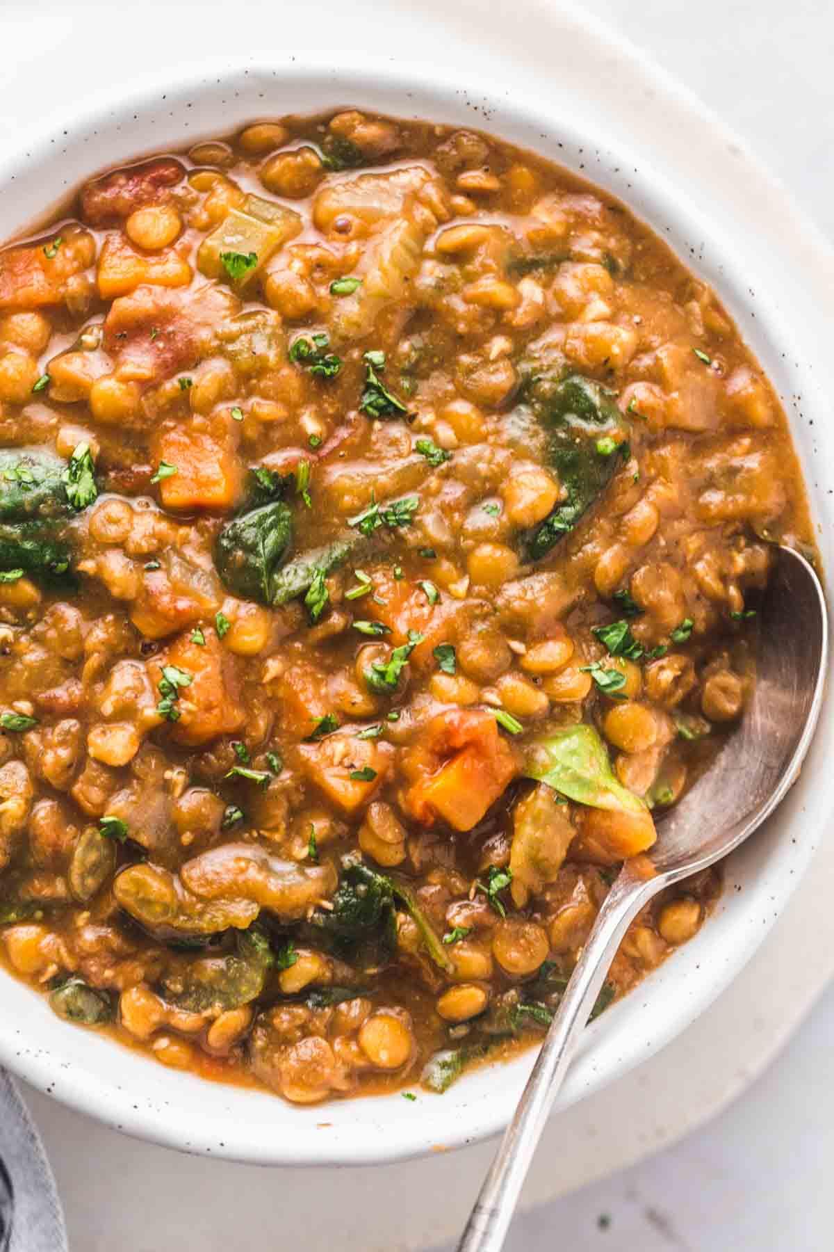 A close up of the lentil soup